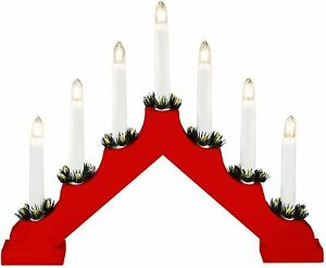 7 Bulb FLICKERING Red Large Wooden Christmas LED Candle Bridge Home Light