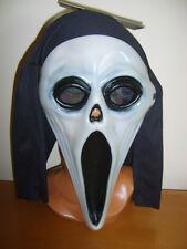 PLASTIC SCREAM MOVIE GHOST FACE MASK HOOD GLOW IN THE DARK HALLOWEEN FANCY DRESS