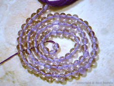 "AMETHYST 3.5mm - 4.5mm Round Exotic Gemstone Beads 14"" str Light Lavender Color"