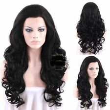 Fashion Long Wavy Hair Natural Black Lace Wig Heat Resistant Synthetic Wig