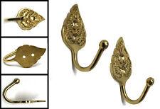 2 x Curtain Brass Tie Backs Antique Vintage Style Hook Hooks Leaf Design 60mm