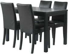 NEW Banbury Leather Effect 4 Seat Ash Veneer Dining Chairs Set - Black