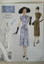 Vogue Sewing Pattern 2787, Retro 1948 Dress with Shaped Bodice, Sizes 12-16 New