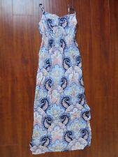 COTTON: ON womens sz S blue long lightweight Paisley one piece maxi dress Slit