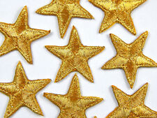 """Gold star patches > pack of 10 > embroidered > iron-on > 1"""" (25mm) hand finished"""