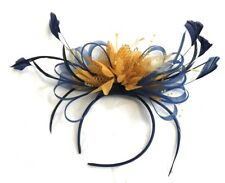 95d5a82f Navy Blue and Mustard Yellow Fascinator Headband Wedding Race