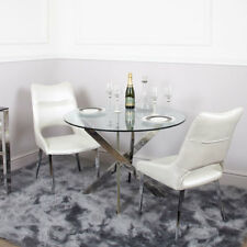 Aurelia Set of Chrome & Glass Round Dining Room Kitchen Table 130cm & 4 Chairs