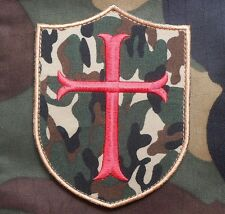 CROSS CRUSADER SHIELD NAVY SEAL BADGE FOREST CAMO VELCRO® BRAND FASTENER PATCH