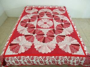 OUTSTANDING Vintage Hand Pieced & Quilted CHINESE FAN ~ Dresden Plate Quilt FULL