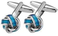 Blue Enamel Mens Love Knot Wedding Gift Cuff links by CUFFLINKS DIRECT