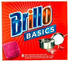 Brillo Basics Steel Wool Scrub Pads 8-ct. Box - USA Made Cleaning Product