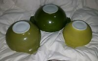 SET OF THREE NESTING PYREX CINDERELLA BOWLS IN GREEN SHADES ~ VERDE 444 443 442