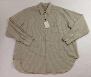 New Giorgio Armani Le Collezioni Men Tan Stripe L-Sleeve Button Shirt SZ 16.5/42