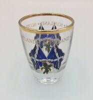 Scotland Cross Flags & Thistle Vodka / Alcohol Souvenir Gold Rimmed Shot Glass