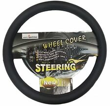 UNIVERSAL Carbon Black VAN CAR Steering Wheel Cover LEATHER Soft PU QUALITY 38cm