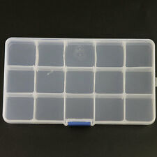 New Adjustable Storage Box 15 Slots Plastic Case Organizer For Jewelry Beads 1pc