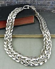 AK Turkey Sterling Silver Wide Braided Link Necklace