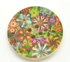 Flower Pattern 4 Holes Wood Painting Sewing Buttons Scrapbooking 3cm