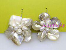 New jewelry white baroque shell genuine pearl handmade 45mm flower earring 1pair