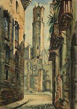 Village méditerranéen aquarelle signée Molina ?Espagne Italie Malaga ?Marbella ?