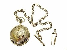Masonic Pocket Watch Silver Two Tone Design Mother of Pearl Engraving Included