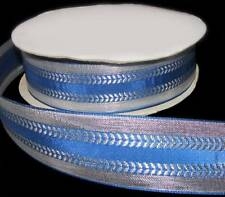 "5 Yards Blue Silver Metallic Silver Florentine Ribbon 1 1/2""W"