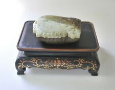 Antique Hand Carved Jade Cricket Box on Stand, Mixed Color Jades Within Stone