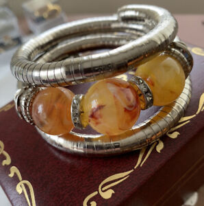 Silver effect serpentine & amber coloured beaded cuff/bracelet.