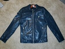 Zara Blue Faux Leather Jacket for Man. Size M. Biker Jacket