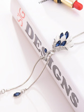 Silver colour rhinestone blue long chain necklace costume jewellery gift present