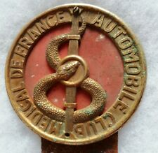 Plaque badge Automobile Club Médical de France ORIGINAL ancien Médecin Caducée