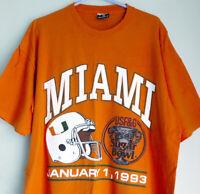 Mens XL Vintage 1993 University Miami Hurricanes Football T-Shirt Sugar Bowl