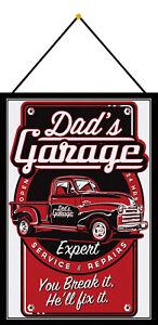 Dads Dad's Garage Werkstatt Schild mit Kordel Metal Tin Sign 20 x 30 cm FA1415-K
