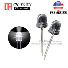 50pcs 8mm Led Diodes White Light Emitting Water Clear Round Top Transparent USA