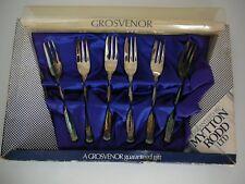 """Grosvenor Silver Plate Cake Fork Dessert Set """"Laureate"""" Unused Vintage"""