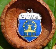 VINTAGE 800 SILVER enamel BAD MEINBERG SPA Germany shield CHARM (C-244)