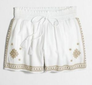 J.CREW Ladies Pull On White w/ Gold Embroidered Shorts  Sz 8  NWT