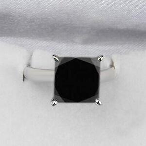 925er Sterling Silber 4,85Kt Prinzess Form Natürlich Jet Schwarz Diamant Ring