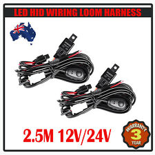 2PCS WIRING KIT LOOM FOR LED/HID FOG LIGHT BAR WITH FUSE RELAY SWITCH CAR 4WD