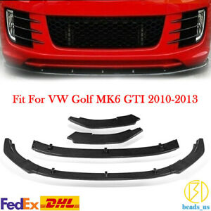 Front Bumper Lip Spoiler For Volkswagen Golf MK6 GTI GTD 10-13 Carbon Fiber Look