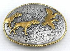 HUNTING DOG BIRDS BELT BUCKLE WESTERN COWBOY ROPE EDGED ENGRAVED GOLD SILVER NEW