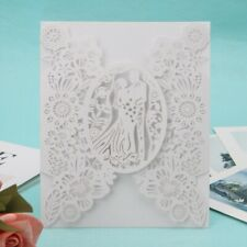 10pcs Bride & Groom Wedding Party Invitation Cards Delicate Carved Lace Romantic