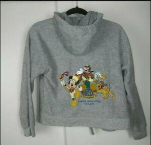 Disney Resort grey embroidered Kids Unisex fleece hoodie size L Large