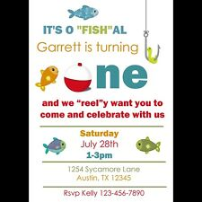 20 Personalized Birthday Invitations - Fishing Party - 1st Birthday or Any AGE