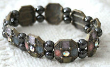 Antiqued Gold-tone Stretch Bracelet w hematite and crystals - nwot