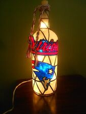 New England Patriots inspired Bottle Lamp Handpainted Stained Glass Look Lighted