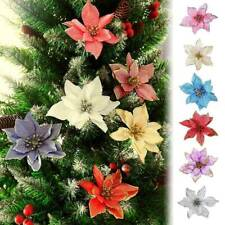 "10pcs 5"" Christmas Party Poinsettia Glitter Flowers Decoration Xmas Tree Garland"