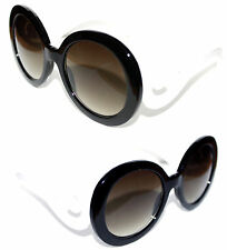 Women's Boho Sunglasses Retro Black White Baroque Round Butterfly Clouds 449