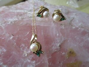Wonderful Matching 14K Yellow Gold Pearl & Emerald Pendant, Necklace & Earrings