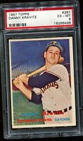 1957 Topps Baseball #267 DANNY KRAVITZ Pittsburgh Pirates RC ROOKIE PSA 6 EX-MT